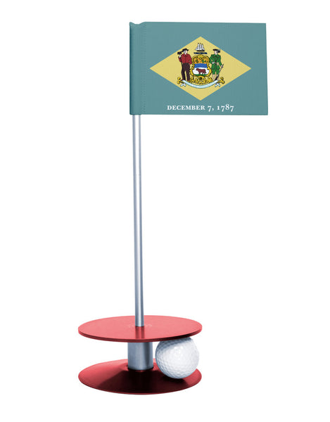 Delaware State Flag Putt-A-Round with a red base. Great way to improve your short golf game.
