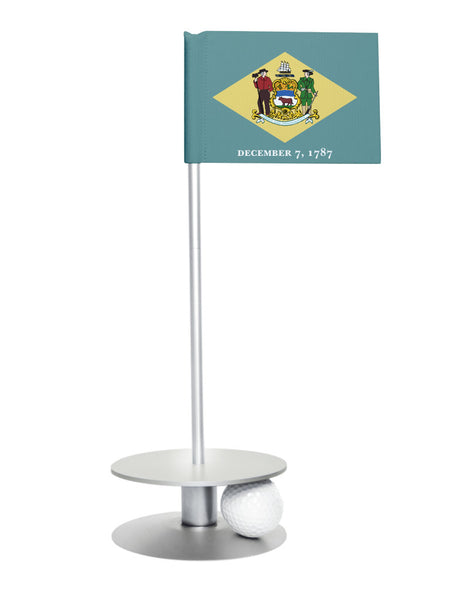 Delaware State Flag Putt-A-Round with a silver base. Great way to improve your short golf game.