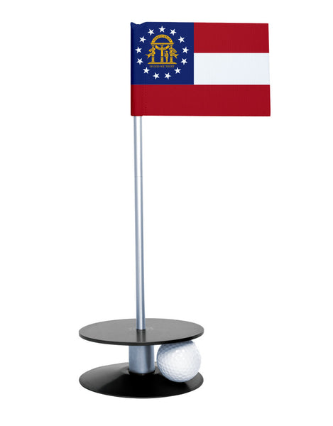 Georgia State Flag Putt-A-Round putting aid with black base. Great way to improve your golf short game skills. Makes an awesome gift or give-a-way!
