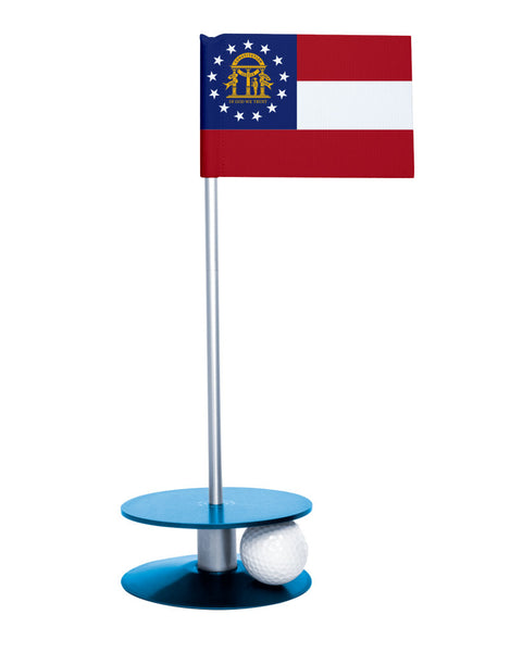 Georgia State Flag Putt-A-Round putting aid with blue base. Great way to improve your golf short game skills. Makes an awesome gift or give-a-way!