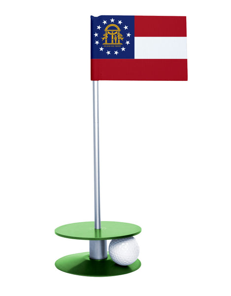 Georgia State Flag Putt-A-Round putting aid with green base. Great way to improve your golf short game skills. Makes an awesome gift or give-a-way!