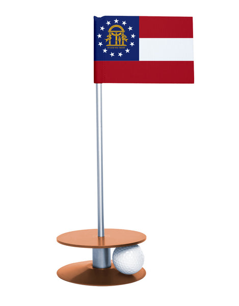 Georgia State Flag Putt-A-Round putting aid with orange base. Great way to improve your golf short game skills. Makes an awesome gift or give-a-way!
