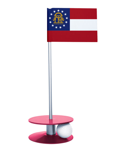 Georgia State Flag Putt-A-Round putting aid with pink base. Great way to improve your golf short game skills. Makes an awesome gift or give-a-way!