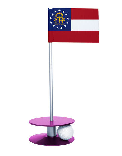 Georgia State Flag Putt-A-Round putting aid with purple base. Great way to improve your golf short game skills. Makes an awesome gift or give-a-way!