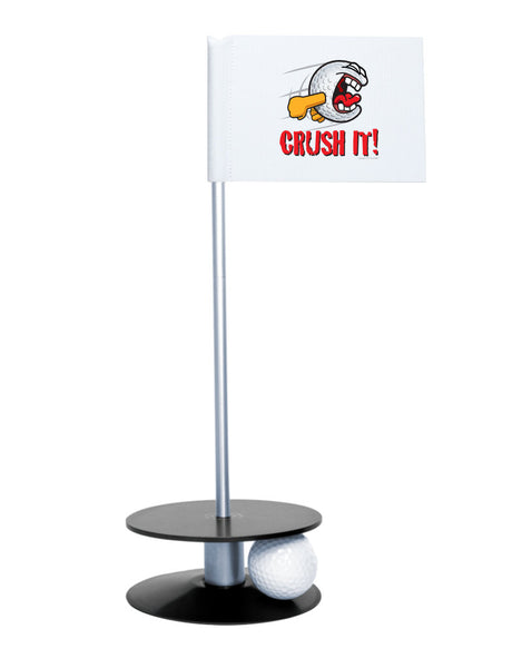 Putt-A-Round Gus the Golfball Crush It with Black Base - Awesome golf gift to remind your golfer to Crush It