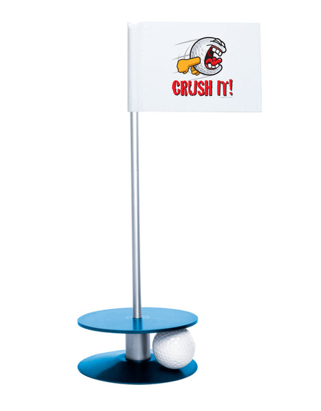 Putt-A-Round Gus the Golfball Crush It with Blue Base - Awesome golf gift to remind your golfer to Crush It