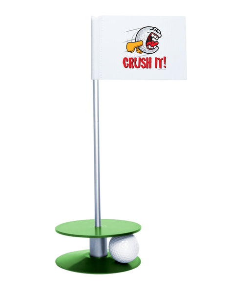 Putt-A-Round Gus the Golfball Crush It with Green Base - Awesome golf gift to remind your golfer to Crush It