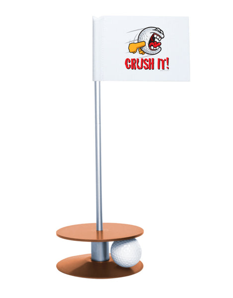Putt-A-Round Gus the Golfball Crush It with Orange Base - Awesome golf gift to remind your golfer to Crush It