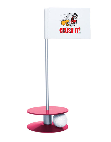 Putt-A-Round Gus the Golfball Crush It with Pink Base - Awesome golf gift to remind your golfer to Crush It