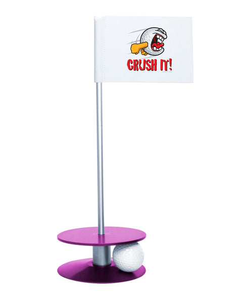 Putt-A-Round Gus the Golfball Crush It with Purple Base - Awesome golf gift to remind your golfer to Crush It