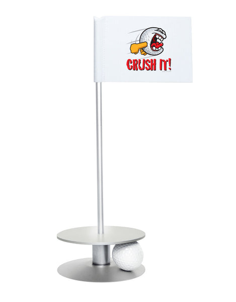 Putt-A-Round Gus the Golfball Crush It with Silver Base - Awesome golf gift to remind your golfer to Crush It