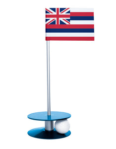 Hawaii State Flag Putt-A-Round putting aid with blue base. Great way to improve your golf short game skills. Makes an awesome gift or give-a-way!