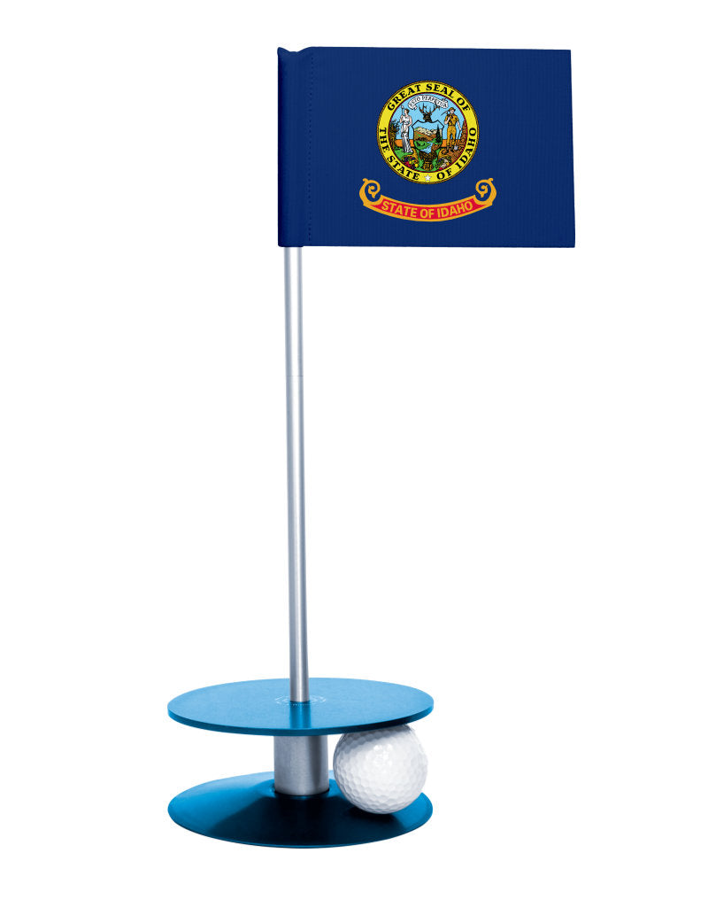 Idaho State Flag Putt-A-Round putting aid with blue base. Great way to improve your golf short game skills. Makes an awesome gift or give-a-way!