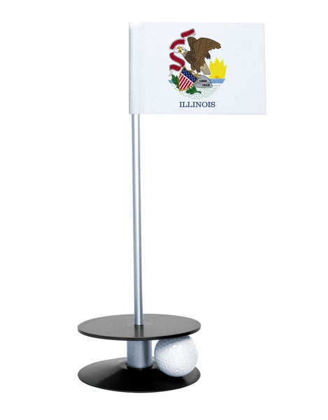 Illinois State Flag Putt-A-Round putting aid with black base. Great way to improve your golf short game skills. Makes an awesome gift or give-a-way!