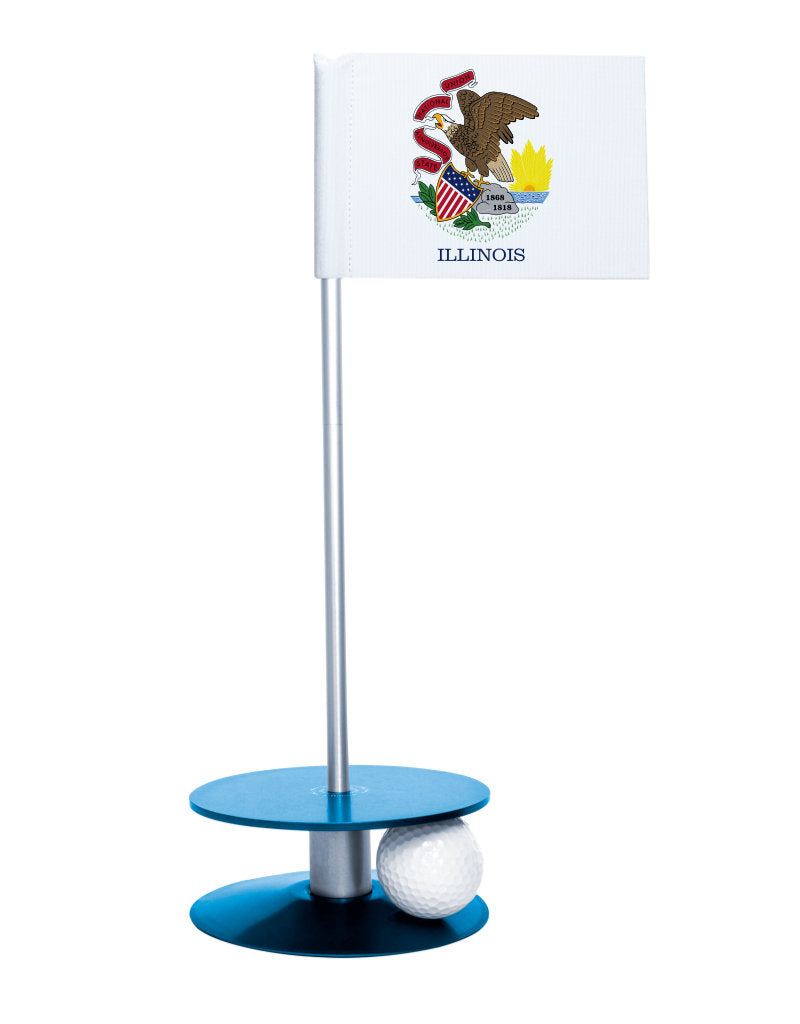 Illinois State Flag Putt-A-Round putting aid with blue base. Great way to improve your golf short game skills. Makes an awesome gift or give-a-way!
