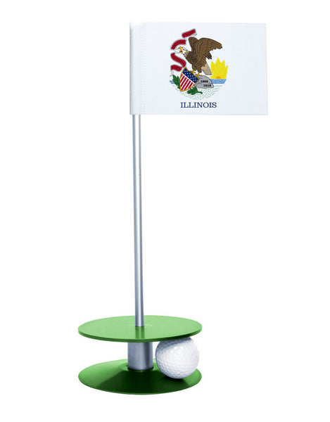Illinois State Flag Putt-A-Round putting aid with green base. Great way to improve your golf short game skills. Makes an awesome gift or give-a-way!