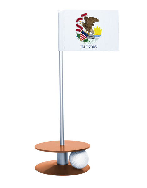 Illinois State Flag Putt-A-Round putting aid with orange base. Great way to improve your golf short game skills. Makes an awesome gift or give-a-way!