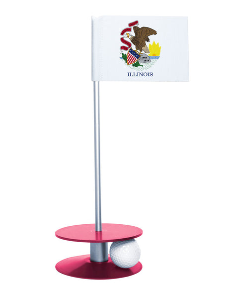 Illinois State Flag Putt-A-Round putting aid with pink base. Great way to improve your golf short game skills. Makes an awesome gift or give-a-way!