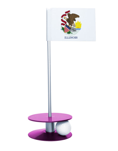 Illinois State Flag Putt-A-Round putting aid with purple base. Great way to improve your golf short game skills. Makes an awesome gift or give-a-way!