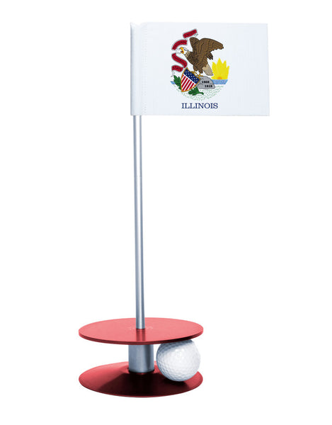 Illinois State Flag Putt-A-Round putting aid with red base. Great way to improve your golf short game skills. Makes an awesome gift or give-a-way!