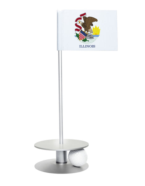 Illinois State Flag Putt-A-Round putting aid with silver base. Great way to improve your golf short game skills. Makes an awesome gift or give-a-way!