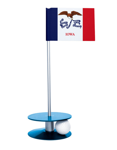 Iowa State Flag Putt-A-Round putting aid with blue base. Great way to improve your golf short game skills. Makes an awesome gift or give-a-way!