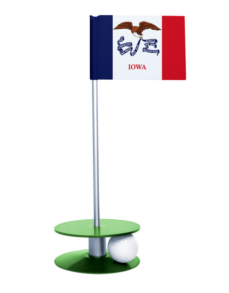Iowa State Flag Putt-A-Round putting aid with green base. Great way to improve your golf short game skills. Makes an awesome gift or give-a-way!