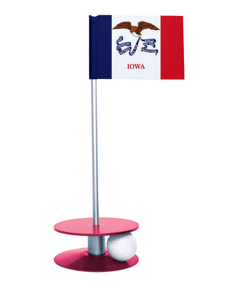 Iowa State Flag Putt-A-Round putting aid with pink base. Great way to improve your golf short game skills. Makes an awesome gift or give-a-way!