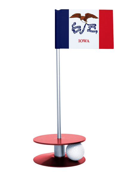 Iowa State Flag Putt-A-Round putting aid with red base. Great way to improve your golf short game skills. Makes an awesome gift or give-a-way!