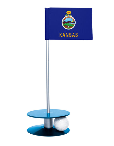 Kansas State Flag Putt-A-Round putting aid with blue base. Great way to improve your golf short game skills. Makes an awesome gift or giveaway!