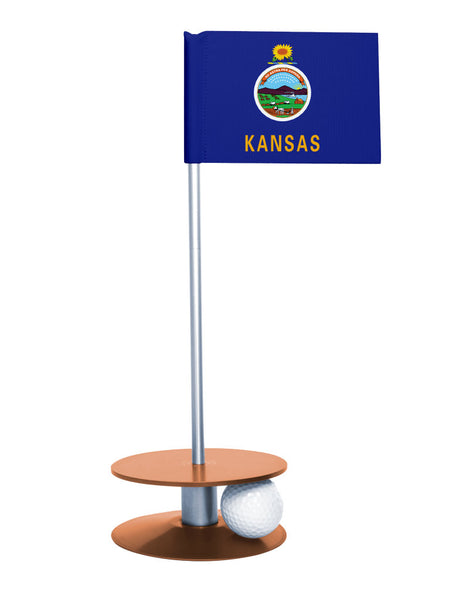Kansas State Flag Putt-A-Round putting aid with orange base. Great way to improve your golf short game skills. Makes an awesome gift or giveaway!