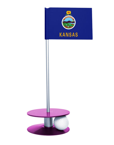 Kansas State Flag Putt-A-Round putting aid with purple base. Great way to improve your golf short game skills. Makes an awesome gift or giveaway!
