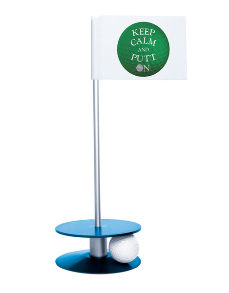 Putt-A-Round Keep Calm and Putt On Flag with Blue Base - Get your Zen on with this great golf gift