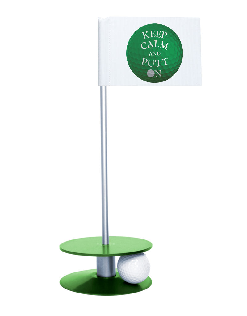 Putt-A-Round Keep Calm and Putt On Flag with Green Base - Get your Zen on with this great golf gift
