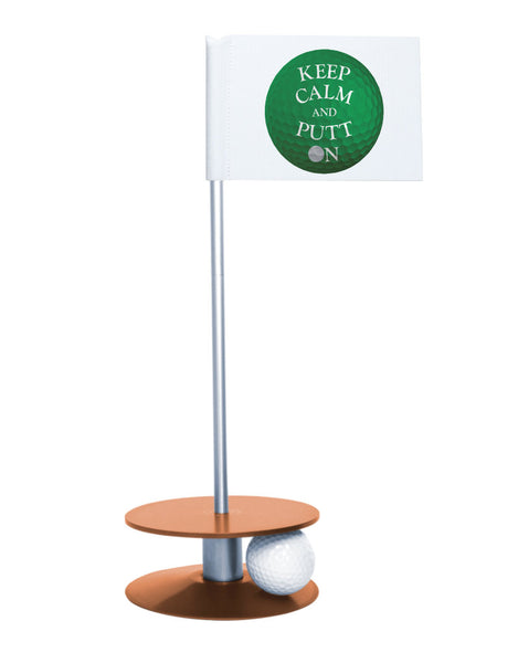 Putt-A-Round Keep Calm and Putt On Flag with Orange Base - Get your Zen on with this great golf gift