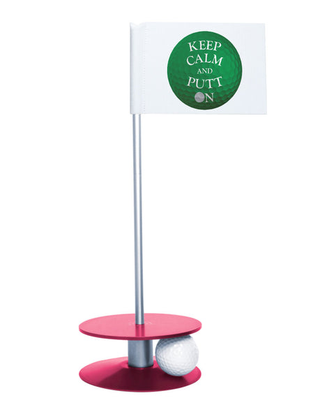 Putt-A-Round Keep Calm and Putt On Flag with Pink Base - Get your Zen on with this great golf gift
