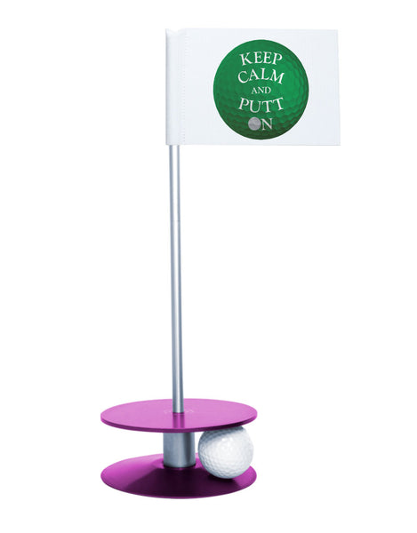 Putt-A-Round Keep Calm and Putt On Flag with Purple Base - Get your Zen on with this great golf gift
