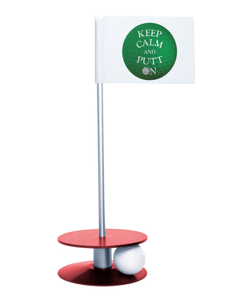 Putt-A-Round Keep Calm and Putt On Flag with Red Base - Get your Zen on with this great golf gift