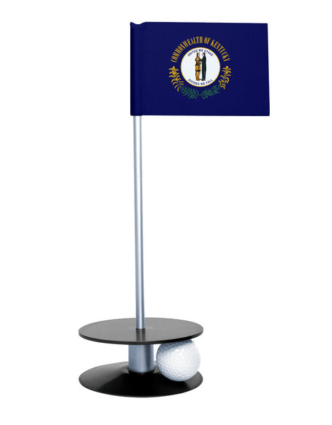 Kentucky State Flag Putt-A-Round putting aid with black base. Great way to improve your golf short game skills. Makes an awesome gift or giveaway!