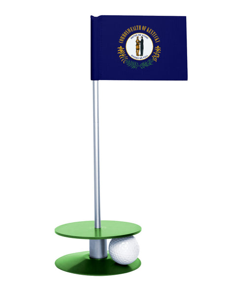 Kentucky State Flag Putt-A-Round putting aid with green base. Great way to improve your golf short game skills. Makes an awesome gift or giveaway!