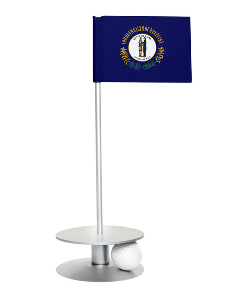Kentucky State Flag Putt-A-Round putting aid with silver base. Great way to improve your golf short game skills. Makes an awesome gift or giveaway!