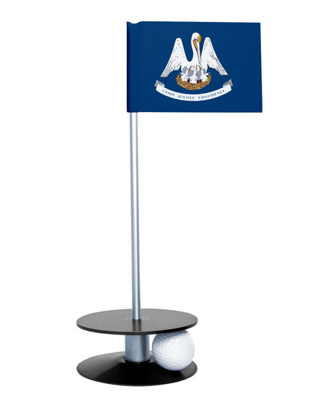 Louisiana State Flag Putt-A-Round putting aid with black base. Great way to improve your golf short game skills. Makes an awesome gift or giveaway!