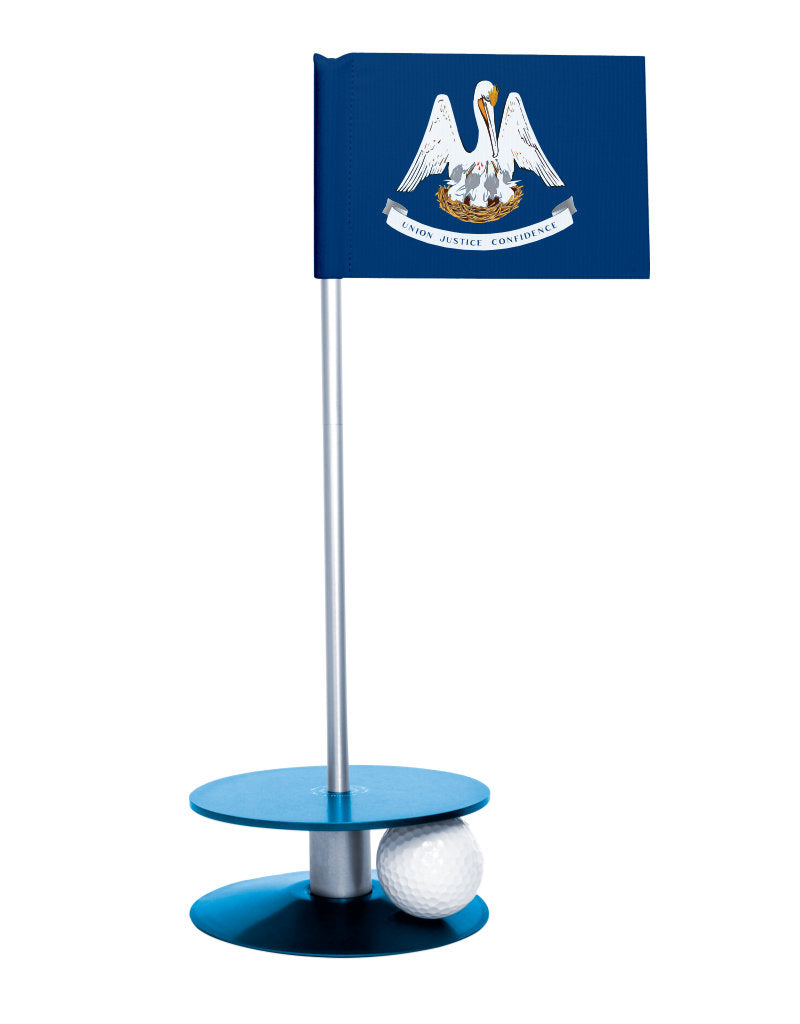 Louisiana State Flag Putt-A-Round putting aid with blue base. Great way to improve your golf short game skills. Makes an awesome gift or giveaway!