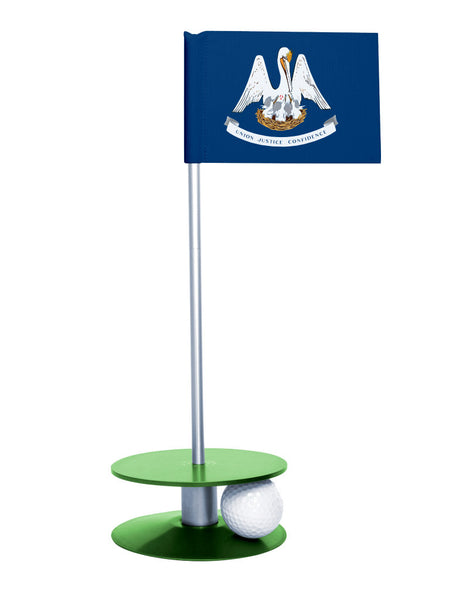 Louisiana State Flag Putt-A-Round putting aid with green base. Great way to improve your golf short game skills. Makes an awesome gift or giveaway!