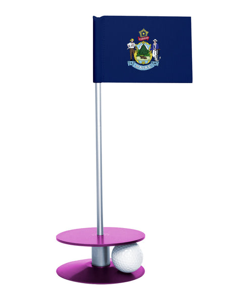Maine State Flag Putt-A-Round putting aid with purple base. Great way to improve your golf short game skills. Makes an awesome gift or giveaway!