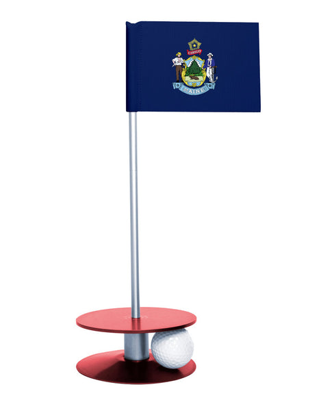 Maine State Flag Putt-A-Round putting aid with red base. Great way to improve your golf short game skills. Makes an awesome gift or giveaway!