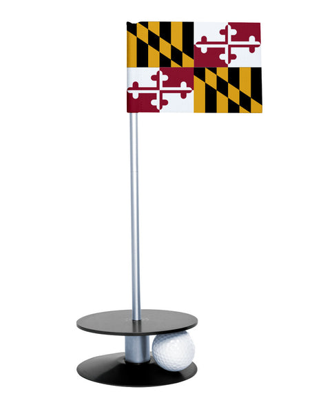 Maryland State Flag Putt-A-Round putting aid with black base. Great way to improve your golf short game skills. Makes an awesome gift or giveaway!
