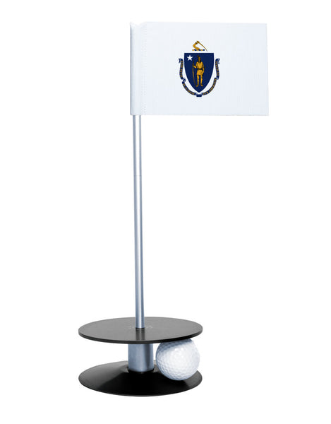 Massachusetts State Flag Putt-A-Round putting aid with black base. Great way to improve your golf short game skills. Makes an awesome gift or giveaway!