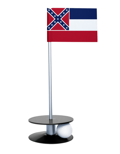 Mississippi State Flag Putt-A-Round putting aid with black base. Great way to improve your golf short game skills. Makes an awesome gift or giveaway!