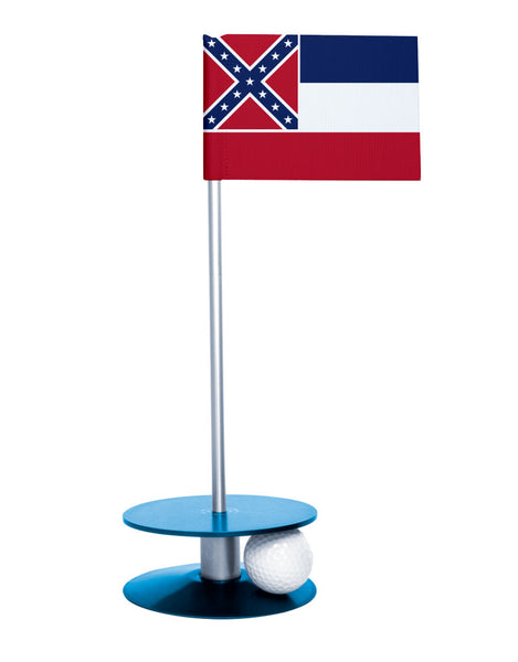 Mississippi State Flag Putt-A-Round putting aid with blue base. Great way to improve your golf short game skills. Makes an awesome gift or giveaway!